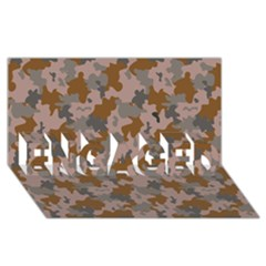 Brown And Grey Camo Pattern ENGAGED 3D Greeting Card (8x4)