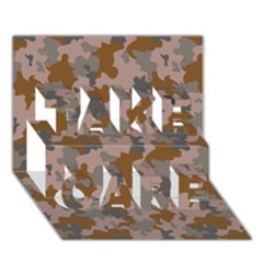 Brown And Grey Camo Pattern TAKE CARE 3D Greeting Card (7x5)
