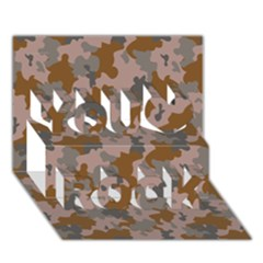 Brown And Grey Camo Pattern You Rock 3D Greeting Card (7x5)