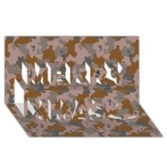 Brown And Grey Camo Pattern Merry Xmas 3D Greeting Card (8x4)