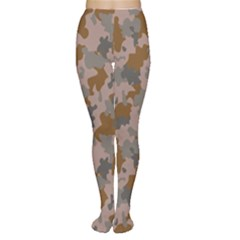 Brown And Grey Camo Pattern Women s Tights