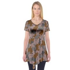 Brown And Grey Camo Pattern Short Sleeve Tunic