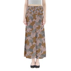 Brown And Grey Camo Pattern Maxi Skirts