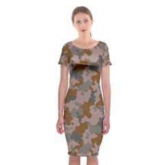 Brown And Grey Camo Pattern Classic Short Sleeve Midi Dress