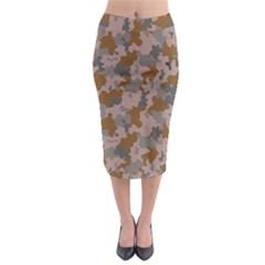 Brown And Grey Camo Pattern Midi Pencil Skirt