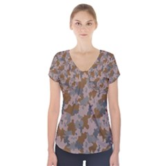 Brown And Grey Camo Pattern Short Sleeve Front Detail Top
