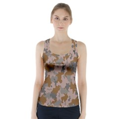 Brown And Grey Camo Pattern Racer Back Sports Top