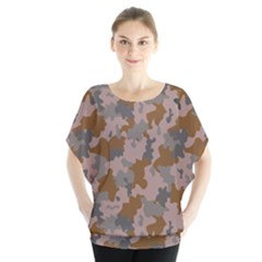 Brown And Grey Camo Pattern Blouse