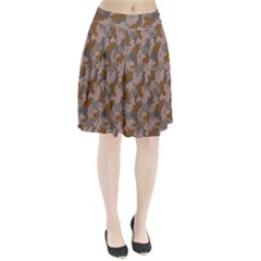 Brown And Grey Camo Pattern Pleated Skirt
