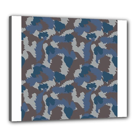 Blue And Grey Camo Pattern Canvas 24  x 20