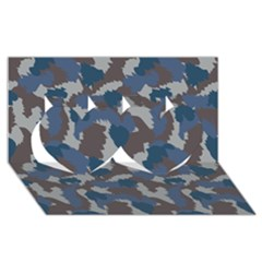Blue And Grey Camo Pattern Twin Hearts 3D Greeting Card (8x4)