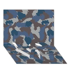 Blue And Grey Camo Pattern LOVE Bottom 3D Greeting Card (7x5)