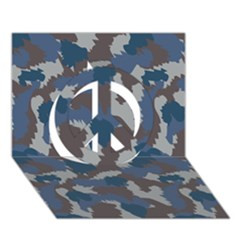 Blue And Grey Camo Pattern Peace Sign 3D Greeting Card (7x5)