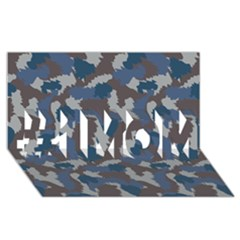 Blue And Grey Camo Pattern #1 MOM 3D Greeting Cards (8x4)