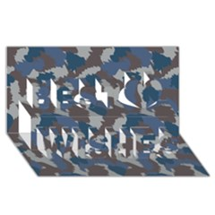 Blue And Grey Camo Pattern Best Wish 3D Greeting Card (8x4)