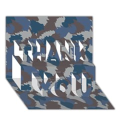 Blue And Grey Camo Pattern THANK YOU 3D Greeting Card (7x5)
