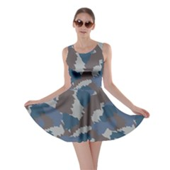 Blue And Grey Camo Pattern Skater Dress
