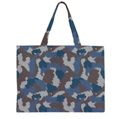 Blue And Grey Camo Pattern Large Tote Bag