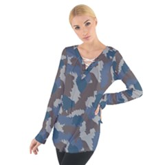 Blue And Grey Camo Pattern Women s Tie Up Tee