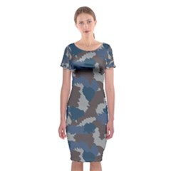 Blue And Grey Camo Pattern Classic Short Sleeve Midi Dress
