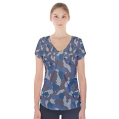 Blue And Grey Camo Pattern Short Sleeve Front Detail Top