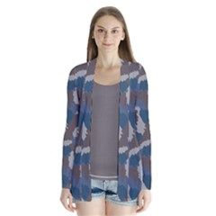 Blue And Grey Camo Pattern Drape Collar Cardigan