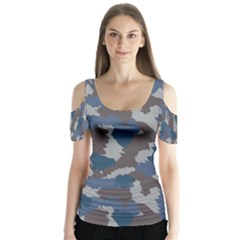 Blue And Grey Camo Pattern Butterfly Sleeve Cutout Tee