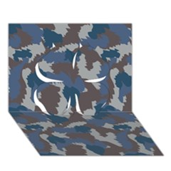 Blue And Grey Camo Pattern Clover 3D Greeting Card (7x5)