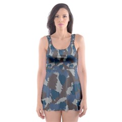Blue And Grey Camo Pattern Skater Dress Swimsuit