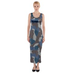 Blue And Grey Camo Pattern Fitted Maxi Dress