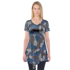 Blue And Grey Camo Pattern Short Sleeve Tunic