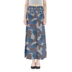Blue And Grey Camo Pattern Maxi Skirts