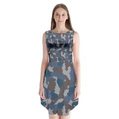 Blue And Grey Camo Pattern Sleeveless Chiffon Dress