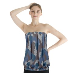 Blue And Grey Camo Pattern Strapless Top