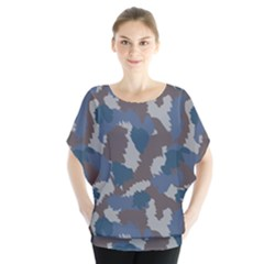 Blue And Grey Camo Pattern Blouse