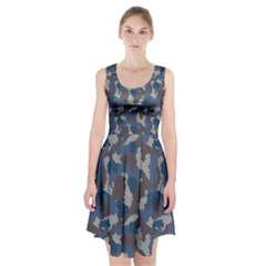 Blue And Grey Camo Pattern Racerback Midi Dress