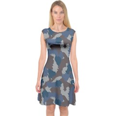 Blue And Grey Camo Pattern Capsleeve Midi Dress