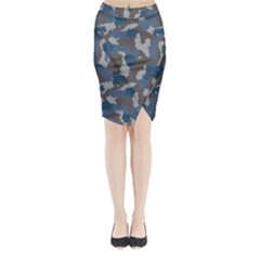 Blue And Grey Camo Pattern Midi Wrap Pencil Skirt