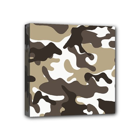 Urban White And Brown Camo Pattern Mini Canvas 4  x 4
