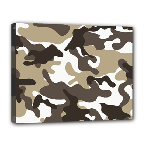 Urban White And Brown Camo Pattern Canvas 14  x 11