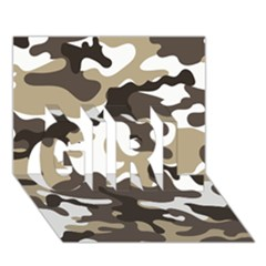 Urban White And Brown Camo Pattern GIRL 3D Greeting Card (7x5)