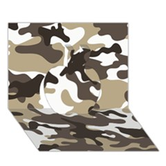 Urban White And Brown Camo Pattern Apple 3D Greeting Card (7x5)