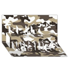 Urban White And Brown Camo Pattern Best Wish 3D Greeting Card (8x4)