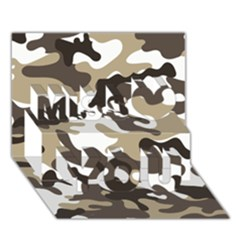 Urban White And Brown Camo Pattern Miss You 3D Greeting Card (7x5)