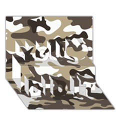 Urban White And Brown Camo Pattern You Did It 3D Greeting Card (7x5)