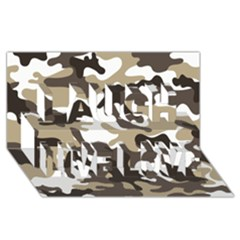Urban White And Brown Camo Pattern Laugh Live Love 3D Greeting Card (8x4)