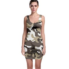 Urban White And Brown Camo Pattern Sleeveless Bodycon Dress