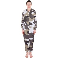 Urban White And Brown Camo Pattern Hooded Jumpsuit (Ladies)