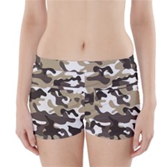 Urban White And Brown Camo Pattern Boyleg Bikini Wrap Bottoms