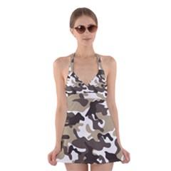 Urban White And Brown Camo Pattern Halter Swimsuit Dress